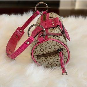 Round Guess Handbag pink/tan